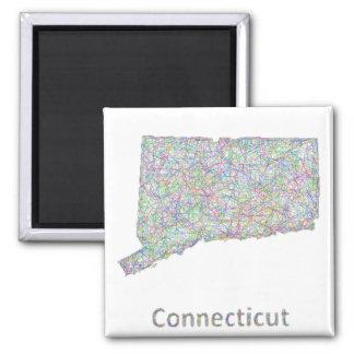 Mapa de Connecticut Imán Cuadrado
