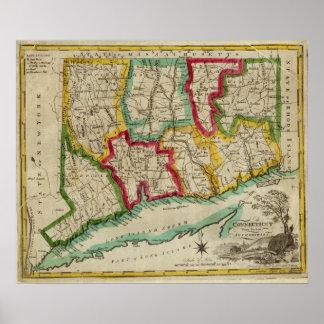 Mapa de Connecticut Póster