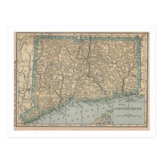 Mapa de Connecticut Tarjeta Postal