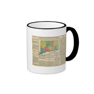Mapa de Connecticut Taza De Café