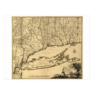 Mapa de Connecticut y de las piezas adyacentes Tarjetas Postales