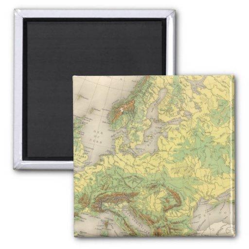 Mapa de contorno de Europa Imán Cuadrado
