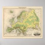 Mapa de contorno de Europa Póster