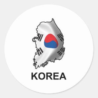Mapa de Corea Pegatina Redonda