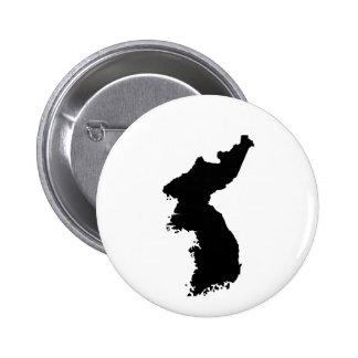Mapa de Corea Pin Redondo De 2 Pulgadas