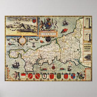 Mapa de Cornualles Impresiones