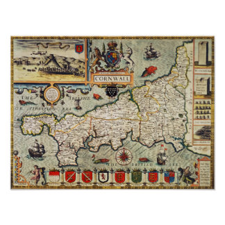 Mapa de Cornualles Póster