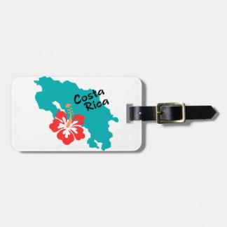 Mapa de Costa Rica con el hibisco Etiquetas De Maletas