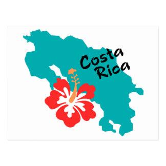 Mapa de Costa Rica con el hibisco Postales