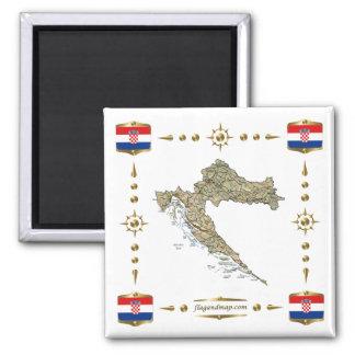 Mapa de Croacia + Imán de las banderas
