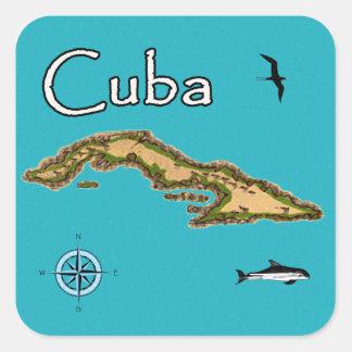 Mapa de Cuba (vintage) Pegatina Cuadrada