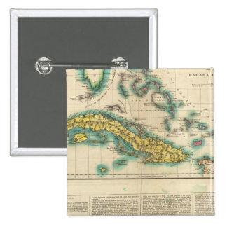 Mapa de Cuba y de las islas de Bahama Pin Cuadrado