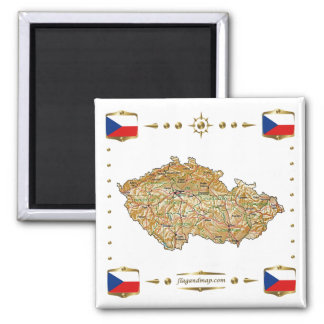 Mapa de Czechia + Imán de las banderas