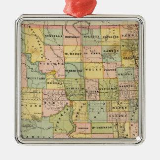 Mapa de Dakota Adorno Cuadrado Plateado