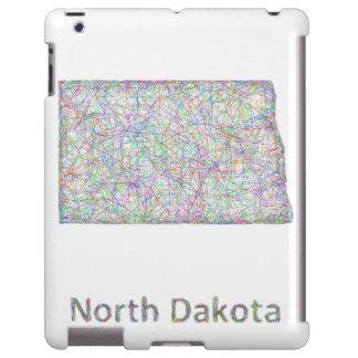 Mapa de Dakota del Norte Funda Para iPad