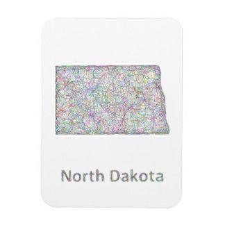 Mapa de Dakota del Norte Imán De Vinilo