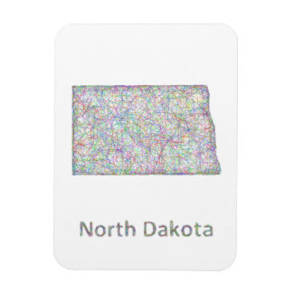 Mapa de Dakota del Norte Iman Rectangular