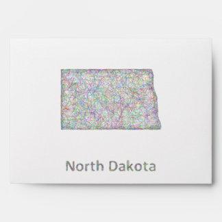 Mapa de Dakota del Norte Sobres