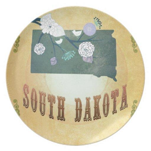 Mapa de Dakota del Sur con los pájaros preciosos Platos De Comidas