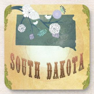 Mapa de Dakota del Sur con los pájaros preciosos Posavasos De Bebidas