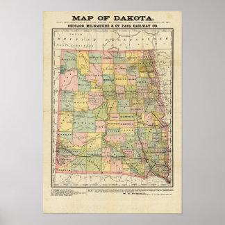 Mapa de Dakota Impresiones