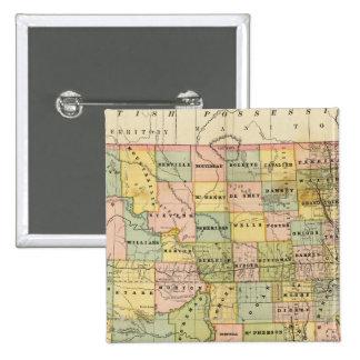 Mapa de Dakota Pin Cuadrado