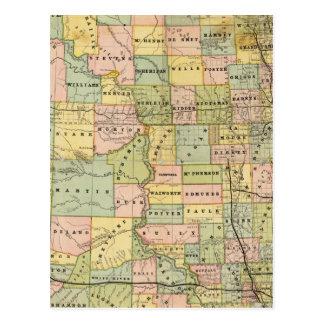 Mapa de Dakota Tarjetas Postales