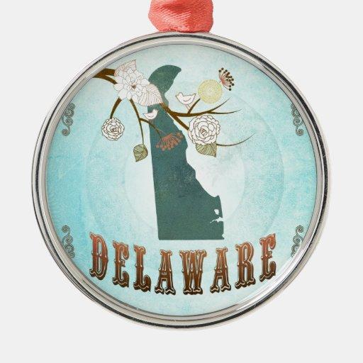 Mapa de Delaware con los pájaros preciosos Adornos De Navidad