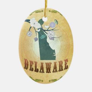 Mapa de Delaware con los pájaros preciosos Ornamento De Reyes Magos