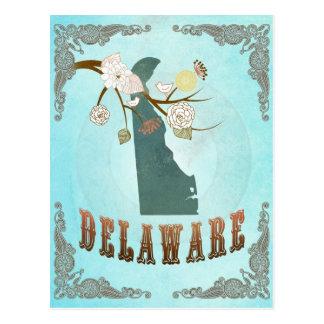 Mapa de Delaware con los pájaros preciosos Postal