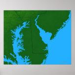 Mapa de Delaware Póster