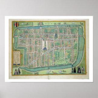 "Mapa de Delft, de ""Civitates Orbis Terrarum"" por G Posters"