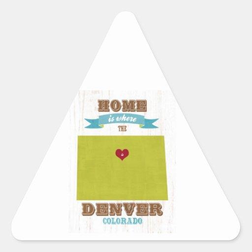 Mapa de Denver, Colorado - casero es donde está el Calcomanía Triangulo Personalizadas