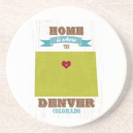 Mapa de Denver, Colorado - casero es donde está el Posavasos Cerveza