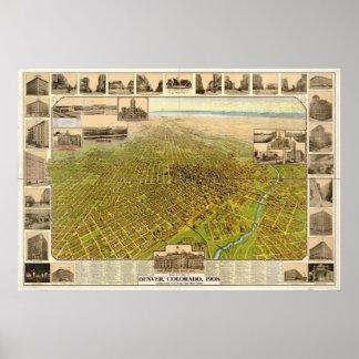 Mapa de Denver, Pájaro-Ojo View, 1908 Póster