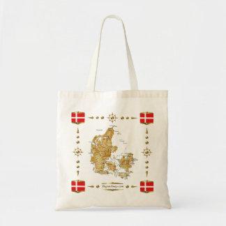 Mapa de Dinamarca + Bolso de las banderas Bolsa De Mano