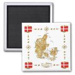 Mapa de Dinamarca + Imán de las banderas