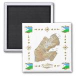 Mapa de Djibouti + Imán de las banderas