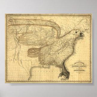 Mapa de Eagle de los Estados Unidos Posters