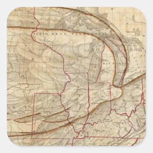 Mapa de Eagle de los Estados Unidos Colcomanias Cuadradas Personalizadas