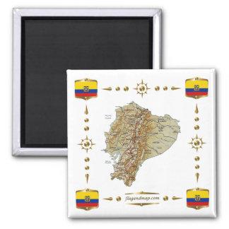 Mapa de Ecuador + Imán de las banderas