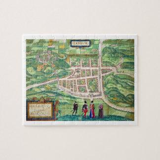 Mapa de Edimburgo, de 'Civitates Orbis Terrarum Puzzle Con Fotos