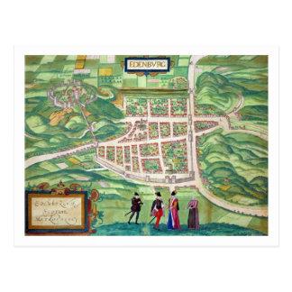 Mapa de Edimburgo, de 'Civitates Orbis Terrarum Postales