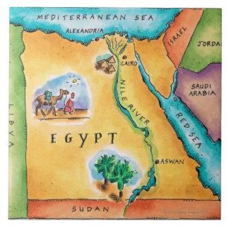 Mapa de Egipto Azulejo Cuadrado Grande