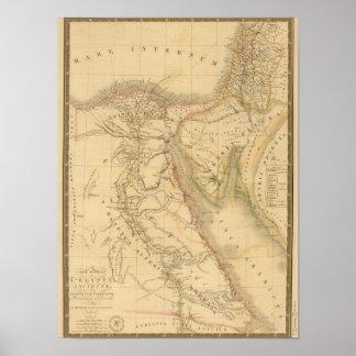 Mapa de Egipto, de Palestina y de Arabia Póster