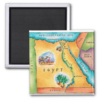 Mapa de Egipto Imán Cuadrado