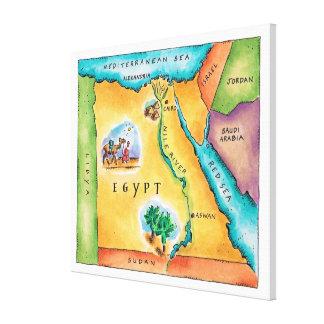 Mapa de Egipto Impresión En Lienzo