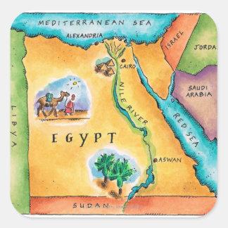 Mapa de Egipto Pegatina Cuadrada