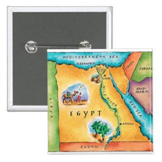 Mapa de Egipto Pin Cuadrada 5 Cm