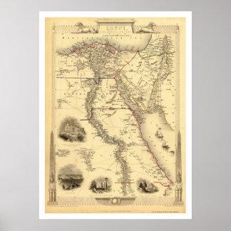 Mapa de Egipto y de Arabia Petrea por Rapkin 1851 Póster